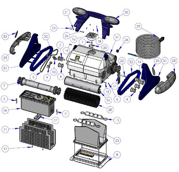 Pied de rotation robot piscine zodiac m3 cybernaut Robot piscine sweepy free zodiac