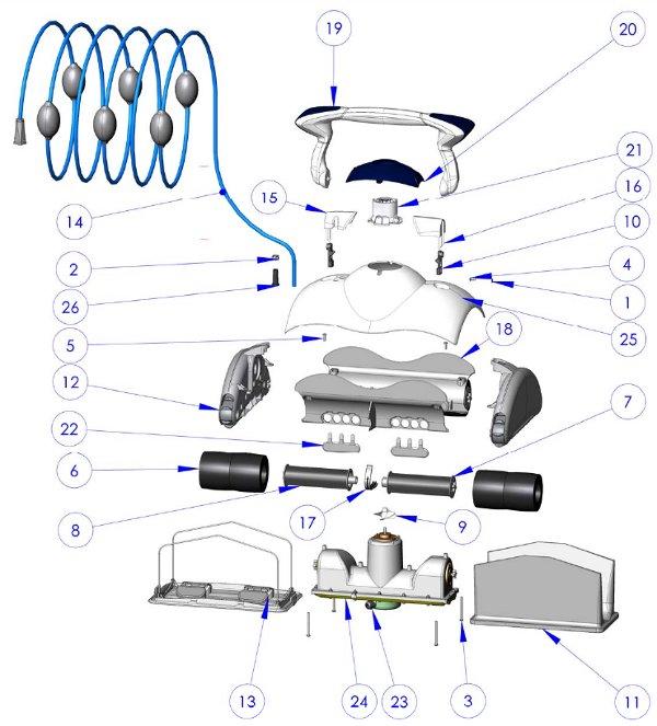 Brosse picot noire robot piscine zodiac cybernaut voyager for Pieces detachees robot piscine zodiac