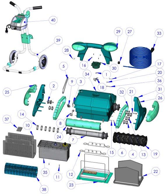 Robot zodiac indigo pi ces d tach es attache mousse for Robot piscine zodiac indigo
