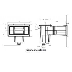 Skimmer Standard 15 litres grande meurtrière métrique gris