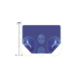 Bâche été duo bleu argentéé bordée 2 côtés sur mesure